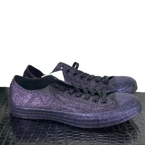 NEW Converse All Star Low Purple Glitter Womens 11